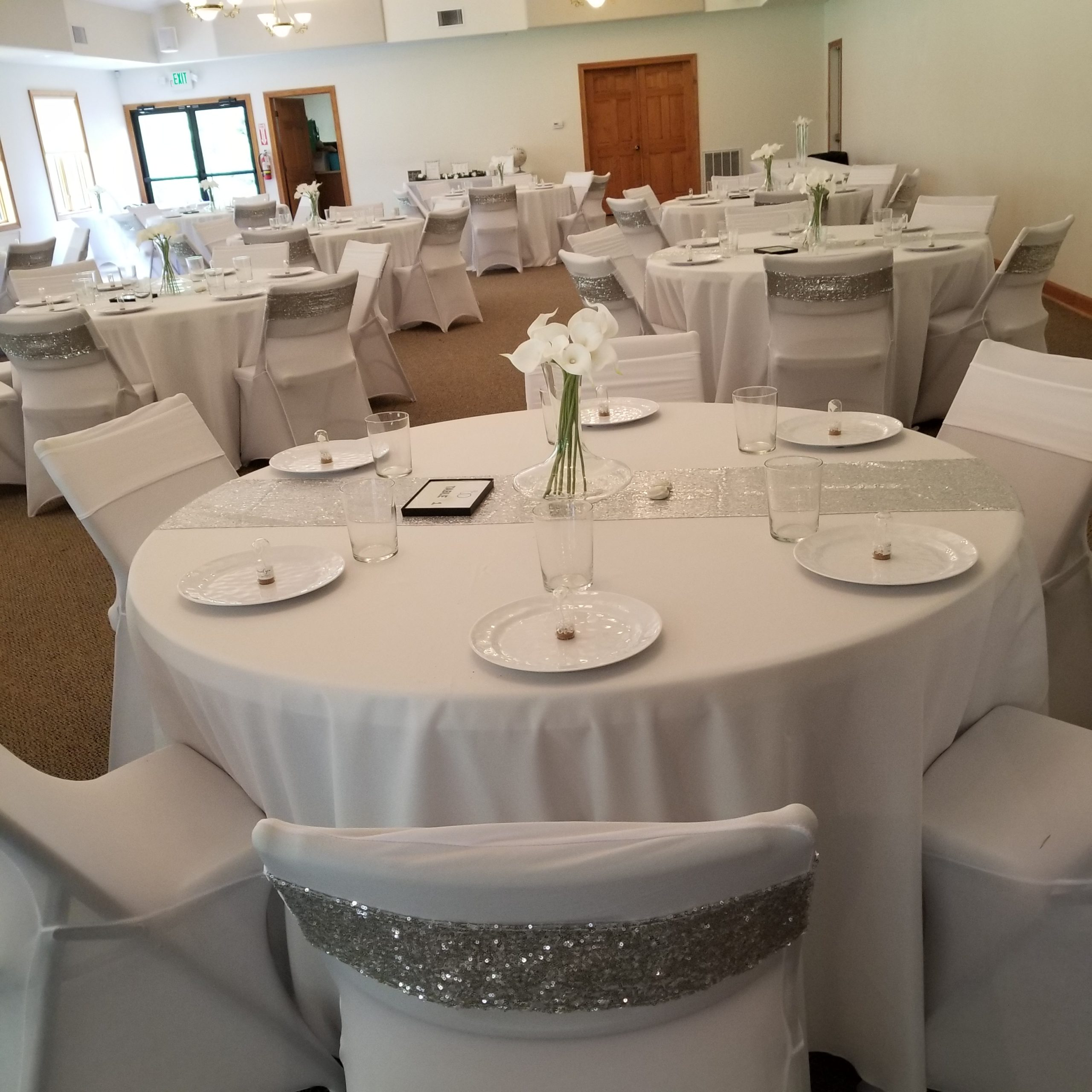 wedding with round white tables